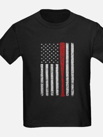 American Flag Baseball Vintage Grunge T-Shirt