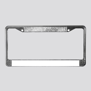 music notes in silver License Plate Frame
