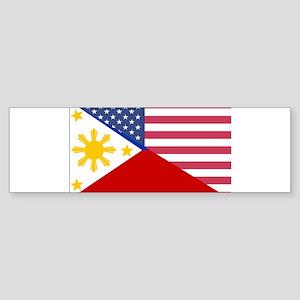 Half Philippines Half American Flag Bumper Sticker