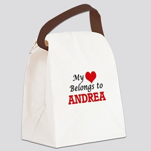 My heart belongs to Andrea Canvas Lunch Bag