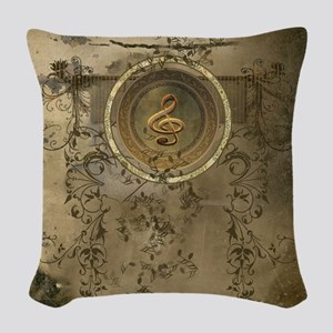 Clef on decorative circle Woven Throw Pillow