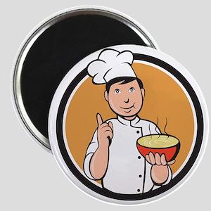 Asian Chef Noodle Bowl Circle Cartoon Magnets