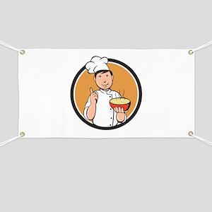 Asian Chef Noodle Bowl Circle Cartoon Banner