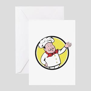 French Chef Welcome Greeting Circle Cartoon Greeti