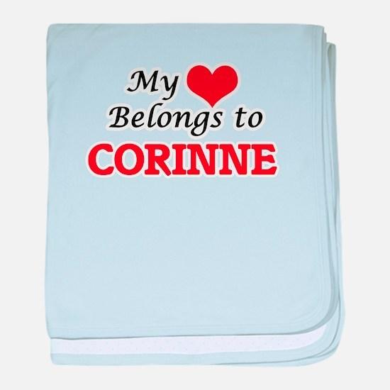 My heart belongs to Corinne baby blanket
