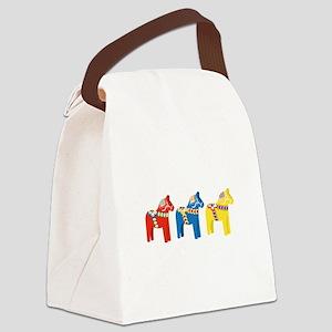 Dala Horse Border Canvas Lunch Bag