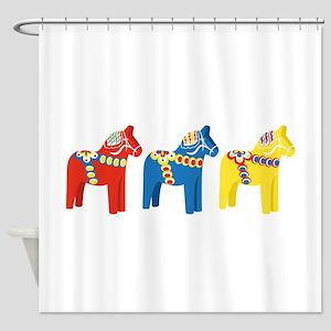Dala Horse Border Shower Curtain