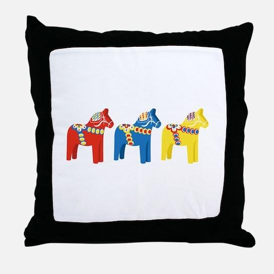 Dala Horse Border Throw Pillow
