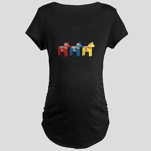 Dala Horse Border Maternity T-Shirt