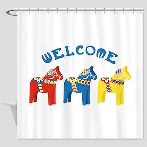 Welcome Dala Horses Shower Curtain