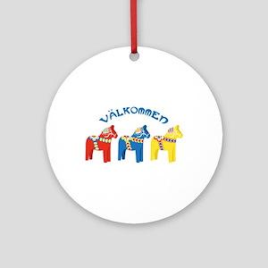 Dala Valkommen Horses Round Ornament
