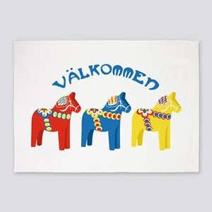 Dala Valkommen Horses 5'x7'Area Rug
