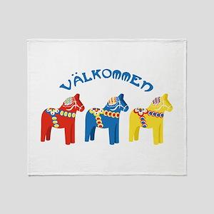 Dala Valkommen Horses Throw Blanket
