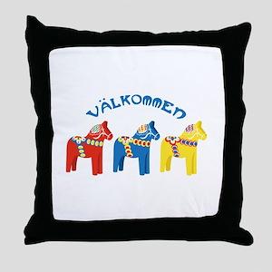 Dala Valkommen Horses Throw Pillow