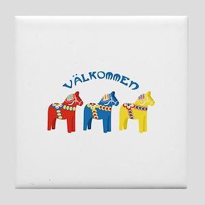 Dala Valkommen Horses Tile Coaster