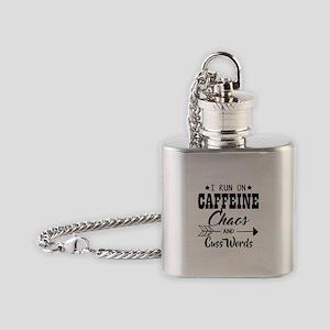 Run on caffeine chaos Flask Necklace