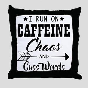 Run on caffeine chaos Throw Pillow