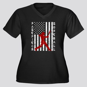 American Flag Distressed Fastpit Plus Size T-Shirt