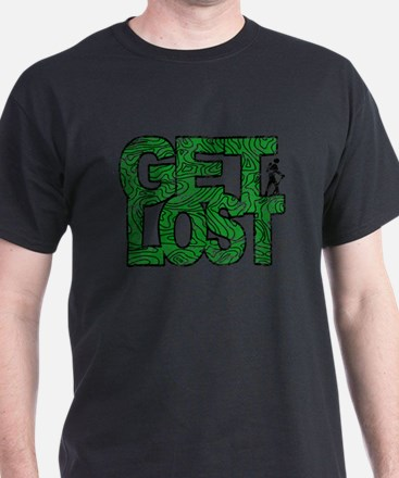 Hiker Get Lost Hiking Distressed Green T-Shirt