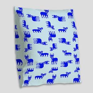 Blue French Bulldogs Burlap Throw Pillow