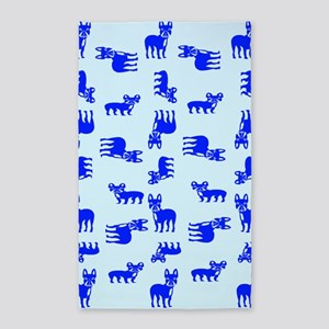 Blue French Bulldogs Area Rug