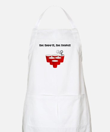 She Shoots,She Scores-Beer Pong BBQ Apron