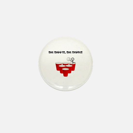 She Shoots,She Scores-Beer Pong Mini Button