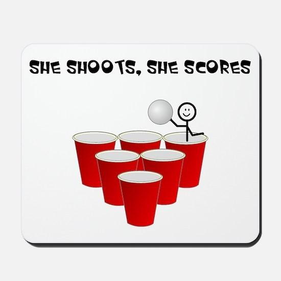 She Shoots,She Scores-Beer Pong Mousepad