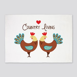 Country Living Roosters 5'x7'Area Rug