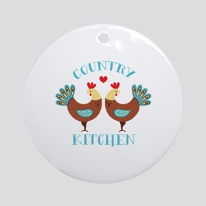 Country Kitchen Roosters Round Ornament