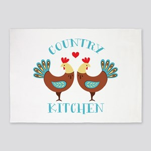 Country Kitchen Roosters 5'x7'Area Rug