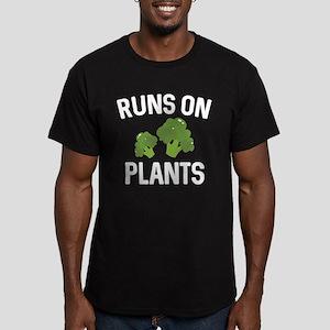 Runs On Plants Men's Fitted T-Shirt (dark)