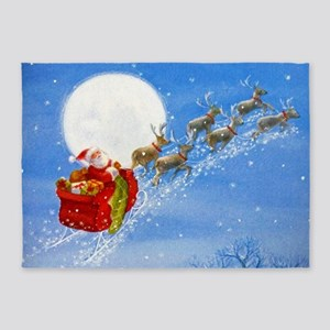 Santa with his Flying Reindeer 5'x7'Area Rug