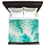 Paradise Palms Blush King Duvet