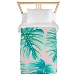 Paradise Palms Blush Twin Duvet