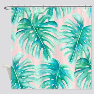 Paradise Palms Blush Shower Curtain
