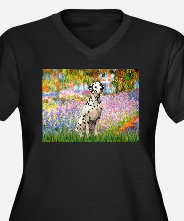 Garden / Dalmation Women's Plus Size V-Neck Dark T