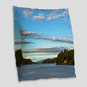 lakeside mountain view Burlap Throw Pillow