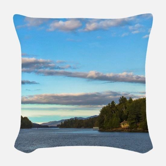 lakeside mountain view Woven Throw Pillow