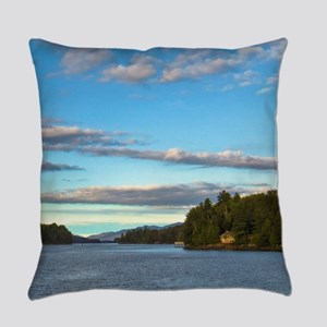 lakeside mountain view Everyday Pillow