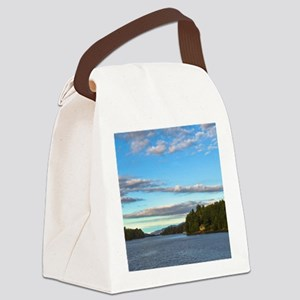 lakeside mountain view Canvas Lunch Bag
