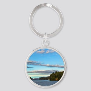 lakeside mountain view Keychains