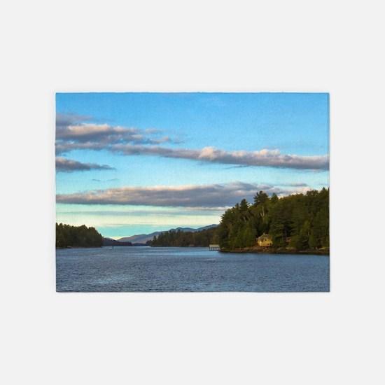 lakeside mountain view 5'x7'Area Rug