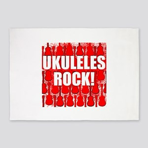 Ukuleles Rock 5'x7'Area Rug