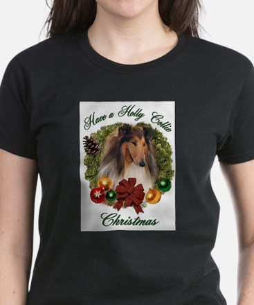Holly Collie Christmas Ash Grey T-Shirt