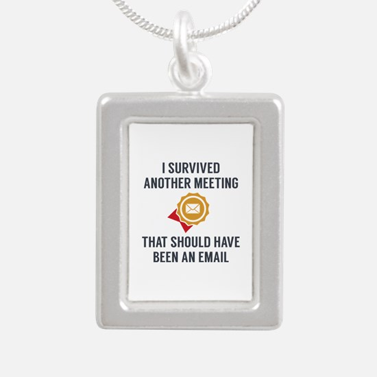 I Survived Another Meeting Silver Portrait Necklac