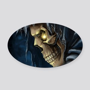 Grim Reaper Oval Car Magnet