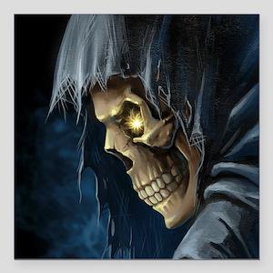 """Grim Reaper Square Car Magnet 3"""" x 3"""""""