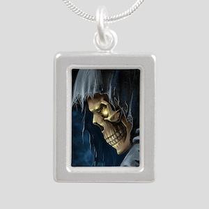 Grim Reaper Silver Portrait Necklace