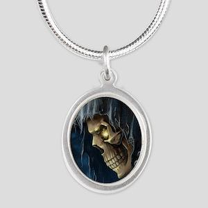 Grim Reaper Silver Oval Necklace